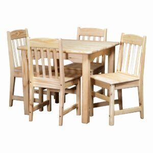 5 Piece - Table And Chairs - Raw